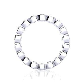 1 3/4 Carat Round Diamond Bezel Set Eternity Ring In Platinum, Ring Size 4