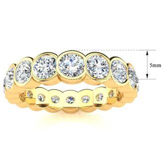 1 3/4 Carat Round Diamond Bezel Set Eternity Ring In 14 Karat Yellow Gold, Ring Size 4