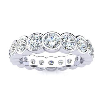 18 Karat White Gold 3 Carat Bezel Set Diamond Eternity Band, G-H SI1-SI2, Ring Sizes 4 to 9 1/2