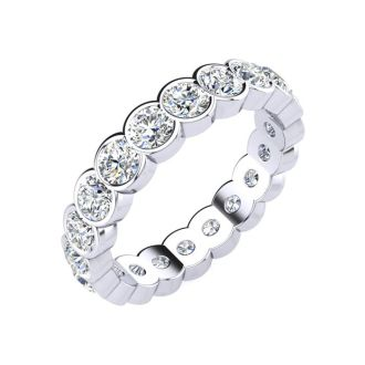 2 1/4 Carat Round Diamond Bezel Set Eternity Ring In Platinum, Ring Size 4