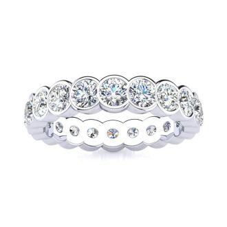 2 1/4 Carat Round Diamond Bezel Set Eternity Ring In 14 Karat White Gold, Ring Size 4.5