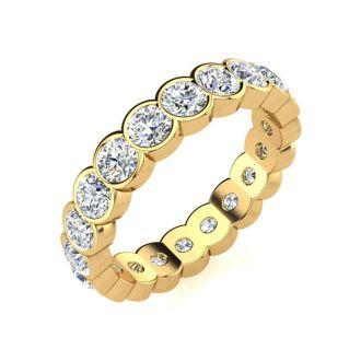 2 1/4 Carat Round Diamond Bezel Set Eternity Ring In 14 Karat Yellow Gold, Ring Size 4.5
