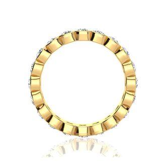 2 1/4 Carat Round Diamond Bezel Set Eternity Ring In 14 Karat Yellow Gold, Ring Size 4