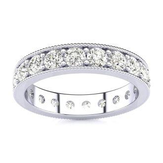 1 Carat Round Diamond Milgrain Eternity Ring In Platinum, Ring Size 4