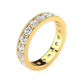 1 Carat Round Diamond Milgrain Eternity Ring In 14 Karat Yellow Gold, Ring Size 4.5