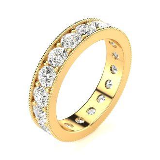 1 3/4 Carat Round Diamond Milgrain Eternity Ring In 14 Karat Yellow Gold, Ring Size 4