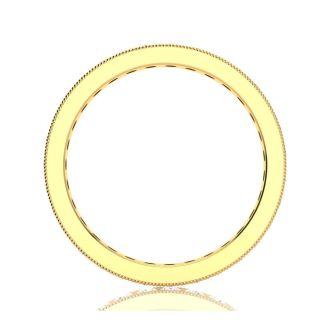 1 3/4 Carat Round Diamond Milgrain Eternity Ring In 14 Karat Yellow Gold, Ring Size 4.5