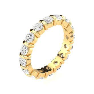 14 Karat Yellow Gold 2 Carat Bar Set Diamond Eternity Band, G-H SI1-SI2, Ring Sizes 4 to 9 1/2