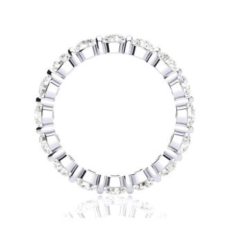 14 Karat White Gold 2 Carat Bar Set Diamond Eternity Band, I-J I1-I2, Ring Sizes 4 to 9 1/2
