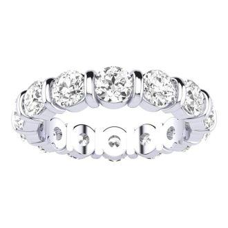 14 Karat White Gold 4 Carat Bar Set Diamond Eternity Band, I-J I1-I2, Ring Sizes 4 to 9 1/2