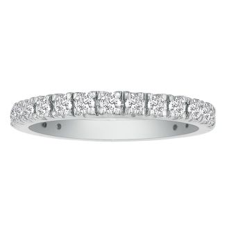 2/3ct Diamond Almost Eternity Band in 14k White Gold. Finely Crafted Micropave Wedding Band.
