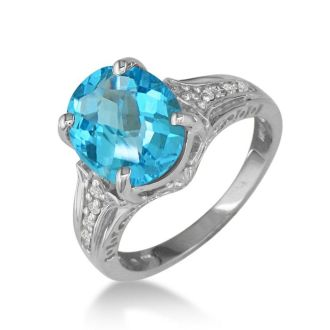 4ct Blue Topaz and Diamond Ring in 10k White Gold