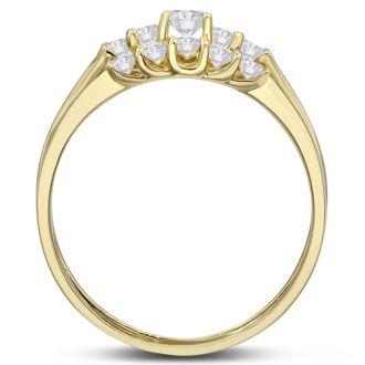 1/2ct Diamond Bridal Set With .12ct Center Diamond in 14k Yellow Gold
