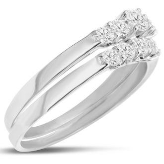 1/2ct Diamond Bridal Set With .12ct Center Diamond in 14k White Gold