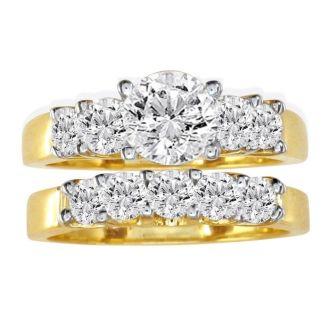 1 Carat Diamond Bridal Set With 1/3 Carat Center Diamond in 14k Yellow Gold