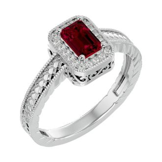 0.85 Carat Antique Style Ruby and Diamond Ring in 10 Karat White Gold