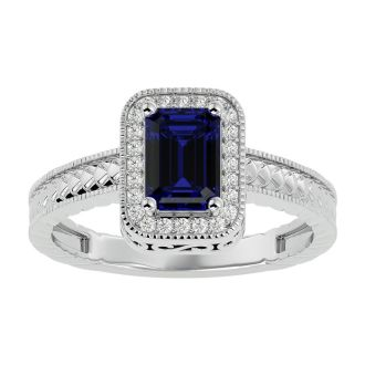 1.12 Carat Antique Style Sapphire and Diamond Ring in 10 Karat White Gold