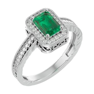 1.12 Carat Antique Style Emerald and Diamond Ring in 10 Karat White Gold