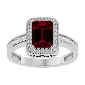 2 Carat Antique Style Ruby and Diamond Ring in 14 Karat White Gold