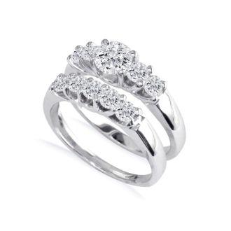 1ct Diamond Bridal Set With 1/3ct Center Diamond in 14k White Gold