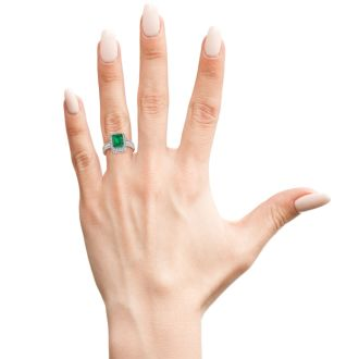 2 1/2 Carat Antique Style Emerald and Diamond Ring in 14 Karat White Gold