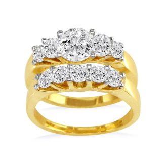 1.09ct Diamond Bridal Set With 1/4ct Center Diamond in 14k Yellow Gold