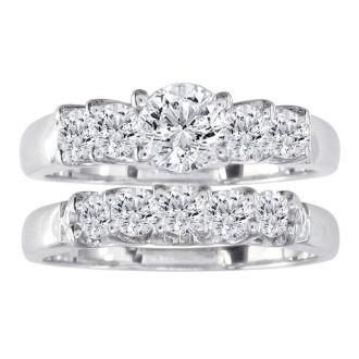 1.09ct Diamond Bridal Set With 1/4ct Center Diamond in 14k White Gold