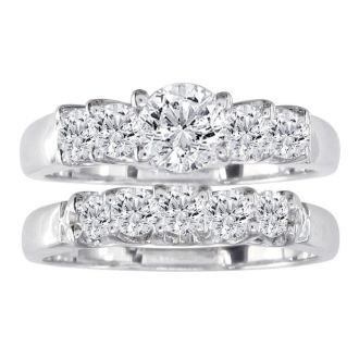 1 1/2ct Diamond Bridal Set, 1/2ct Center Diamond in 14k White Gold, Also Available in Yellow Gold and Other Diamond Weights
