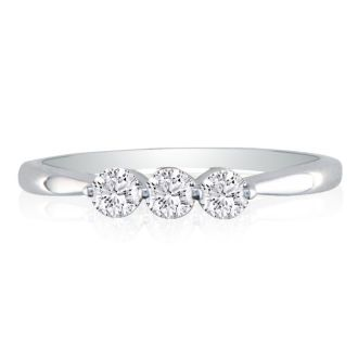 New Item!  Three Diamond Wedding Ring Containing 1/3 Carat of Shimmering Diamonds! Ring Size 4 to 10.5 Available
