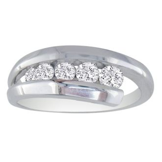 1/2ct Five Diamond Journey Diamond Ring in 14k White Gold