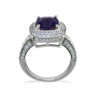 2 3/4ct TGW Amethyst and Diamond Ring in 14k White Gold