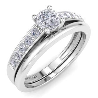 1/2ct Classic Diamond Bridal Set in 14k White Gold