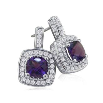 2 1/2ct Amethyst and Diamond Earrings in 14k White Gold