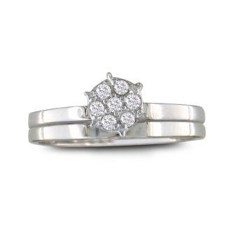 1/8ct Petite Diamond Bridal Set in 10K White Gold