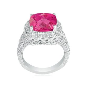 Stylish 4 1/2 Carat Pink Topaz and Diamond Ring in 14k White Gold