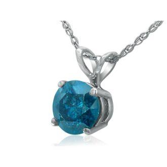 1/2ct Round Brilliant Cut Blue Diamond Pendant in 14k White Gold