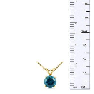 1/2ct Round Brilliant Cut Blue Diamond Pendant in 14k Yellow Gold