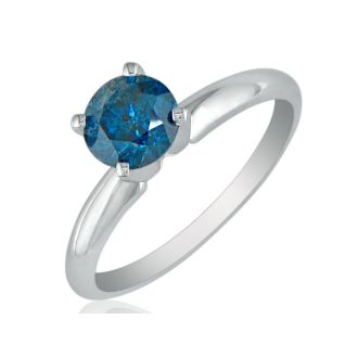 1/2ct Round Brilliant Cut Blue Diamond Ring In 14k White Gold