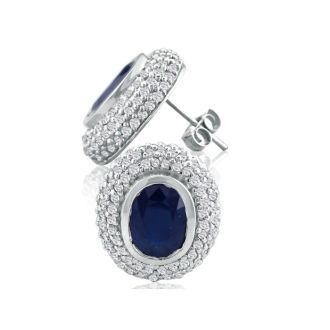 5 1/2ct Sapphire and Diamond Earrings in 14k White Gold