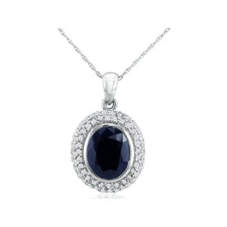 4ct Sapphire and Diamond Pendant in 14k White Gold