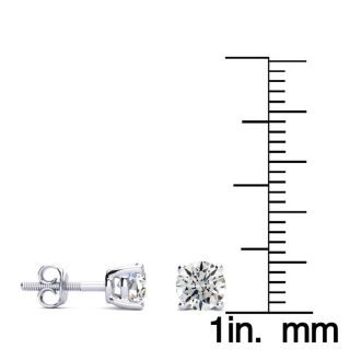 1 Carat Round Diamond Stud Earrings In Platinum