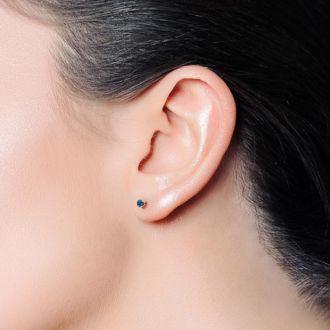 1 Carat Blue Diamond Stud Earrings in 14 Karat Yellow Gold