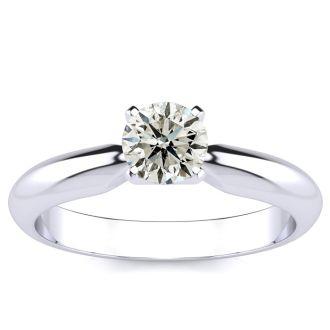14K White Gold 1/2 Carat Diamond Solitaire Ring