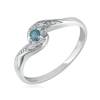 .08ct Blue Diamond Promise Ring in White Gold