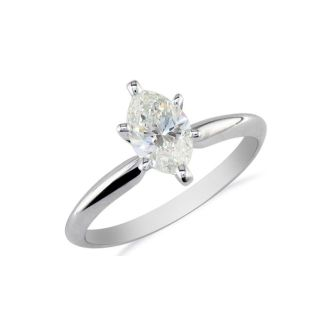 1/4 Carat Marquise Diamond Solitaire Ring In 10K White Gold