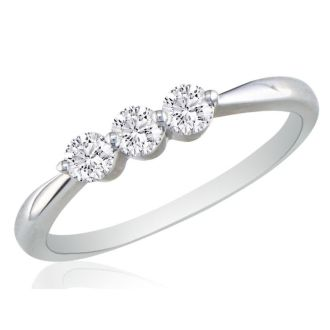 .15ct Three Diamond Promise Ring in 10K White Gold