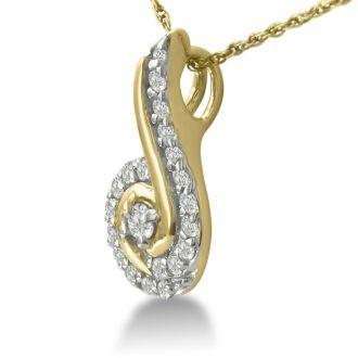 1/4ct Swirling Diamond Pendant in 10k Yellow Gold