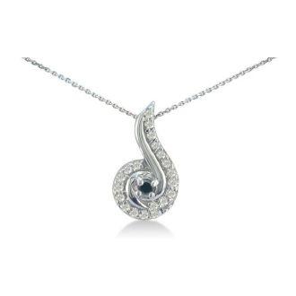 1/4ct Swirling White and Black Diamond Pendant in 10k White Gold