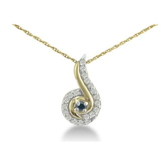 1/4ct Swirling White and Black Diamond Pendant in 10k Yellow Gold