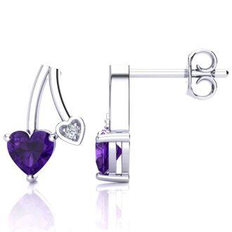 3/4ct Amethyst and Diamond Heart Earrings In 10k White Gold